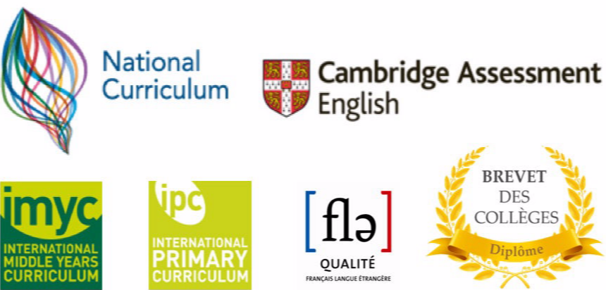 UK National Curriculum, Cambridge Assessment English, IMYC, IPC, Francais Langue etrangere, Brevets des Colleges